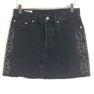 Levi's | Mini grey embellished skirt silver studs